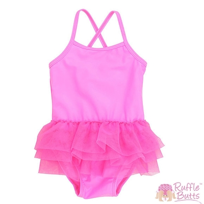 RuffleButts 小女童蝴蝶結荷葉邊桃紅泳衣