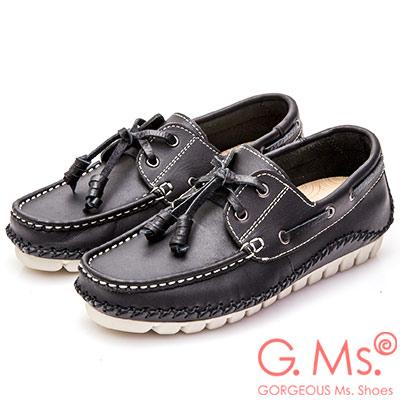 G.Ms. MIT系列-牛皮縫線綁帶帆船鞋-黑色
