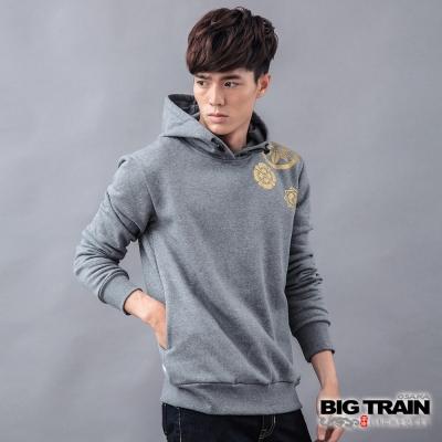 BIG TRAIN-水波家徽厚絨連帽衫-鐵灰