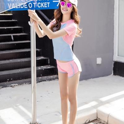 Biki比基尼妮泳衣,法荷短袖泳衣三件式泳衣泳裝(M-XL)