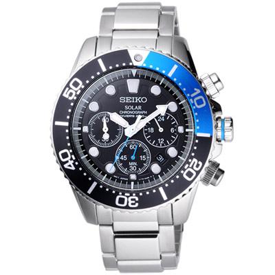 SEIKO SOLAR 怒海潛將太陽能計時潛水腕錶(SSC017P1)-黑x藍/44mm