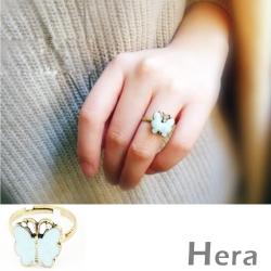 Hera 赫拉 復古彩鑽蝴蝶可調式開口戒指