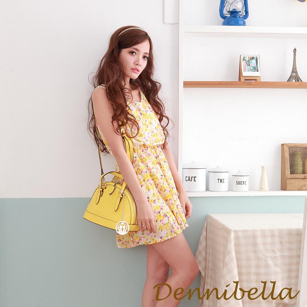 Dennibella 丹妮貝拉 -真皮斜背貝殼包-黃