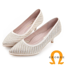 GEORGE 喬治-水鑽斜紋真皮尖頭中跟鞋(婚鞋)-金色