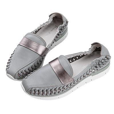 Robinlo Studio 特色編織柔軟牛皮平底休閒鞋 灰色