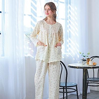 睡衣 精梳棉小碎花平織薄長袖兩件式睡衣(R77201-11淺米黃) 蕾妮塔塔