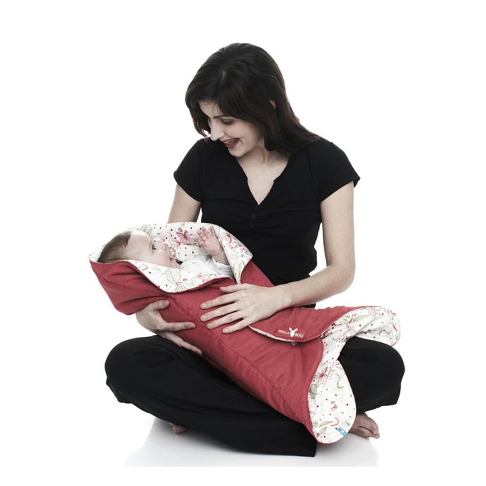 wallaboo Fleur 花仙子厚棉嬰兒包巾-紅色