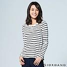 女裝圓領條紋百搭基本款長袖T恤 - 50 皎雪X標誌黑