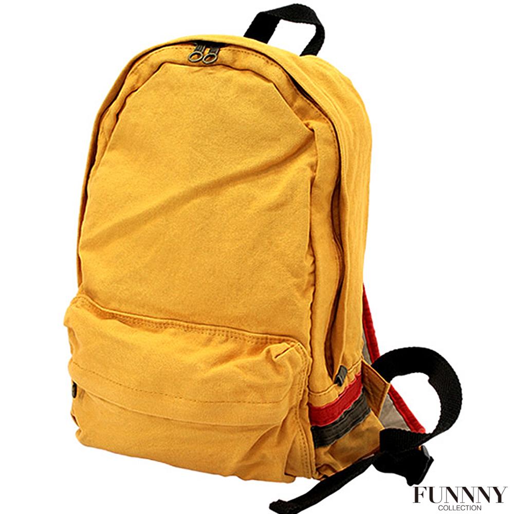 FUNNNY 日本同步系列 經典水洗多色帆布後背包 黃色 (快)