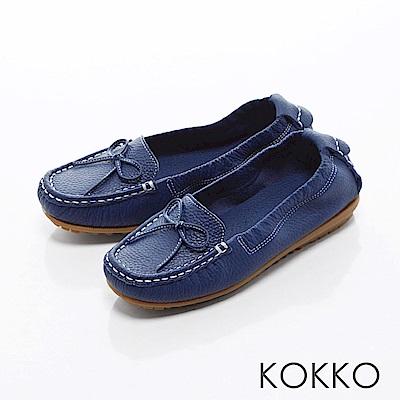 KOKKO -舒適彈力蝴蝶結莫卡辛牛皮便鞋- 深牡丹藍