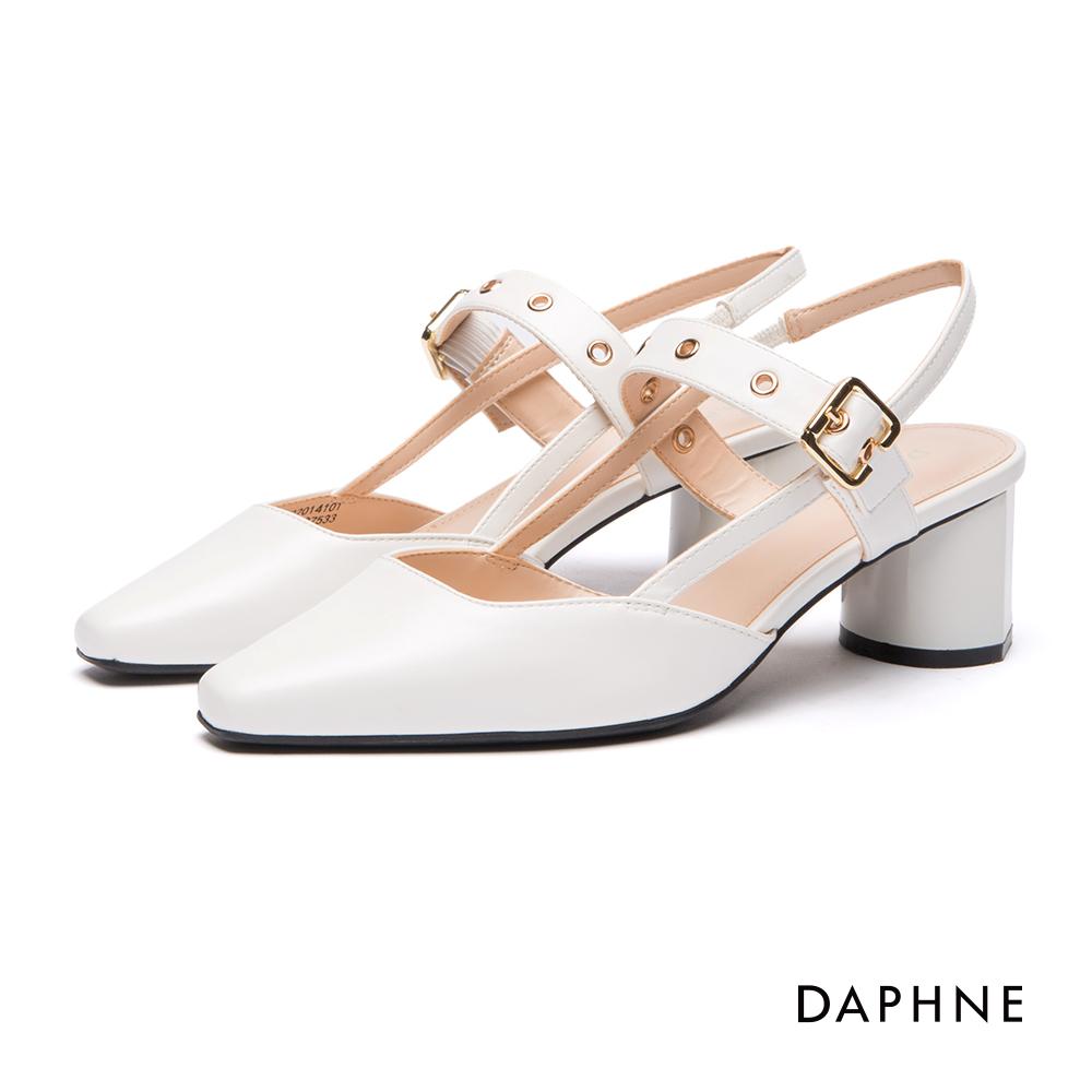 達芙妮DAPHNE跟鞋-釦帶方頭粗跟瑪莉珍鞋-白