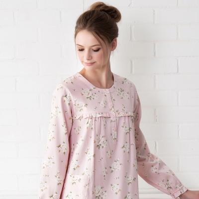 羅絲美睡衣 - 甜蜜玫瑰長袖洋裝睡衣(桃粉色)