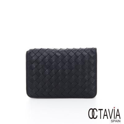 OCTAVIA 8 真皮  - 德瑞克編織 牛皮護照卡片二用短夾 - 不凡黑