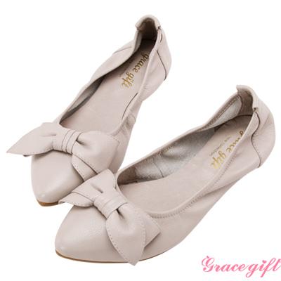 Grace gift-全真皮蝴蝶結摺疊娃娃鞋 淺灰