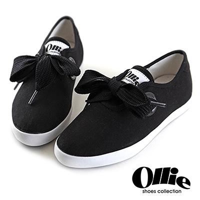 Ollie韓國空運-正韓製超Q寬綁帶蝴蝶結尖頭帆布休閒鞋-黑