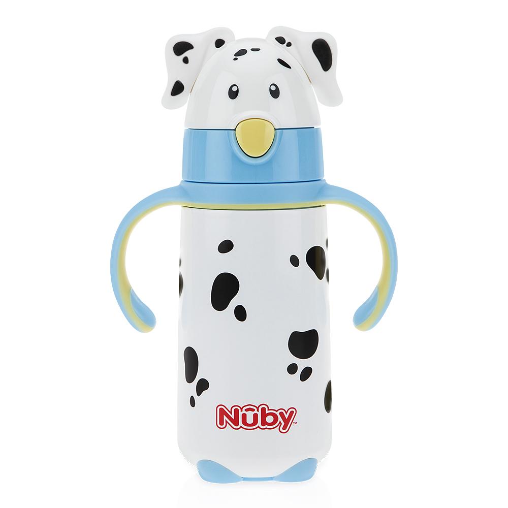 Nuby不鏽鋼真空學習杯細吸管大麥町狗狗420ML-藍(18M+)