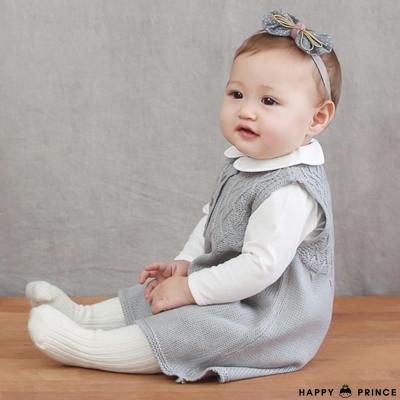 韓國 Happy Prince 灰底蝴蝶結黃色細繩彈性髮帶