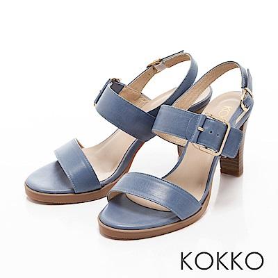 KOKKO-清新微甜真皮後帶粗高跟涼鞋-潔淨藍
