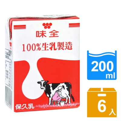 味全 全脂保久乳(200mlx6入)