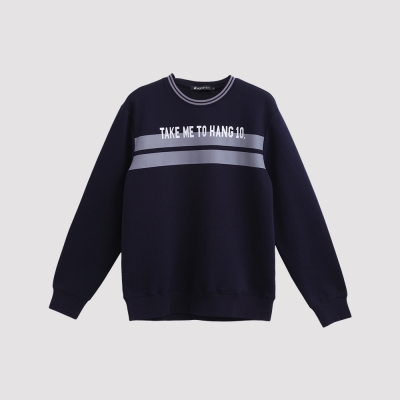 Hang Ten - 男裝 - HANG10印條大學T - 深藍