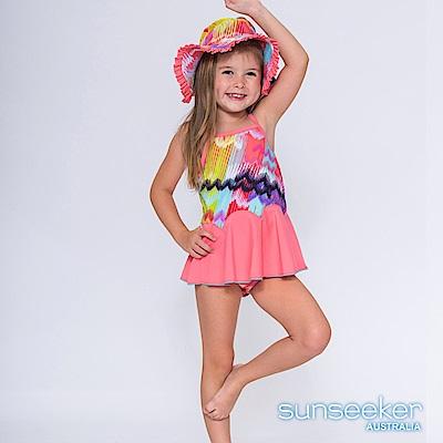 澳洲Sunseeker抗UV防曬炫彩三件式洋裝泳衣-小女童