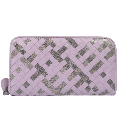 BOTTEGA VENETA小羊皮編織雙色ㄇ字拉鍊長夾(淺紫)