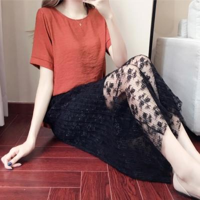 中大尺碼蕾絲壓摺鬆緊闊腿褲裙圓領雪紡上衣套裝XL~4L-Ballet Dolly