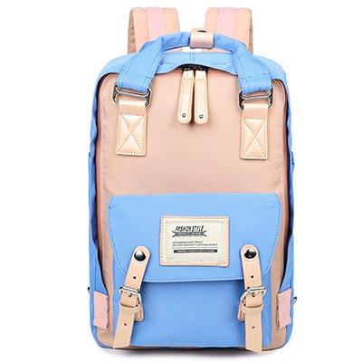 WEROCKER-雙肩後背包-粉配藍色-WR200115
