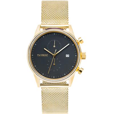 TAYROC 英式簡約時尚米蘭帶計時手錶-金/43mm