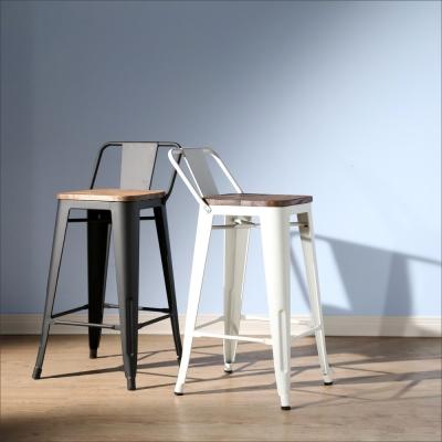BuyJM LOFT復古風工業風榆木低背吧台椅/餐椅-免組裝