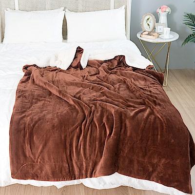 eyah宜雅 北歐時尚雙面加厚法蘭絨羊羔絨毯 2入組(咖啡+橄欖綠)