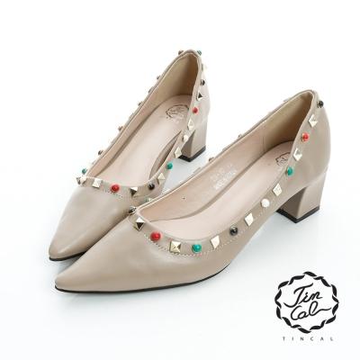 TINCAL-經典名伶-個性立體鉚釘圓珠尖頭跟鞋-卡色