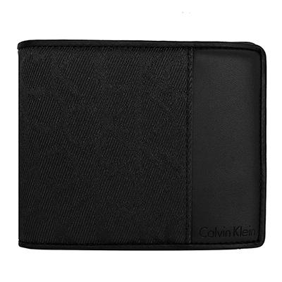 Calvin Klein黑色質感織布真皮拼接釦式零錢袋雙摺短夾