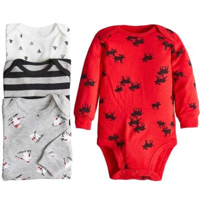 Carters 美國 紅黑條紋聖誕動物長袖包屁衣連身衣超值4件組