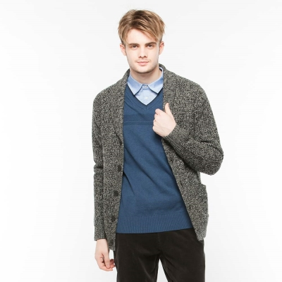 Hang Ten - 男裝 -羊毛鈕扣毛衣外套 - 灰