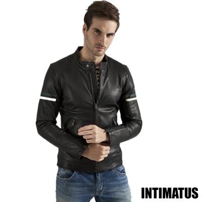 真皮皮衣 賽車風格小羊皮皮衣 酷勁黑色-INTIMATUS