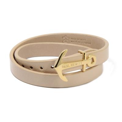 PAUL HEWITT 德國出品 NORTH BOUND 榛果褐皮革 金色船錨寬版手環