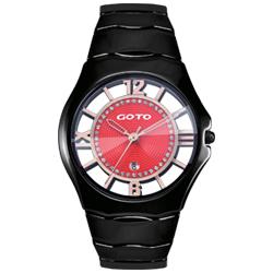 GOTO 羅馬戀曲晶鑽陶瓷裸空時尚手錶-黑x紅/39mm