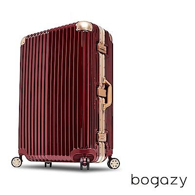 Bogazy 迷幻森林 29吋鋁框PC鏡面行李箱(暗紅配金)