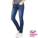 孕婦褲 牛仔褲 孕期刷白窄管牛仔褲 Mamaway