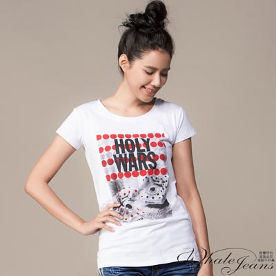 WHALE JEANS 美式普普簡約風印花彈性圓領T-Shirt(2色)