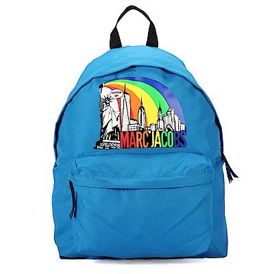 MARC JACOBS 彩虹LOGO紐約大廈圖騰尼龍後背包-藍色