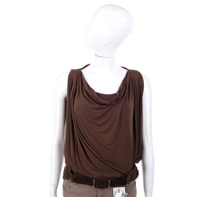 PLEIN SUD JEANIUS 垂領剪裁腰帶造型設計無袖上衣(咖啡色)