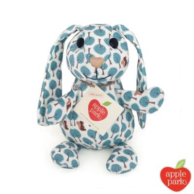 美國 Apple Park 有機棉印花玩偶禮盒 -  長耳兔(粉藍森林)