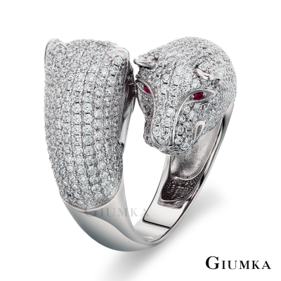 GIUMKA 純銀戒指 金錢豹 925純銀戒 (銀色)
