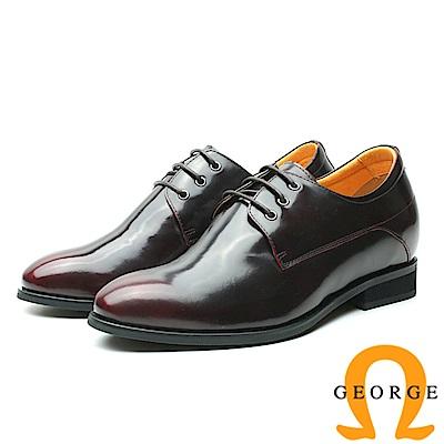 GEORGE 喬治-內增高系列 時尚鏡面牛皮皮鞋 男鞋-酒紅