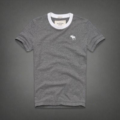 A&F  男裝 現貨 仿舊素面短T恤(灰)