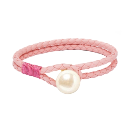 Kiel James Patrick 粉色皮革雙層編織單圈珍珠手鍊手環