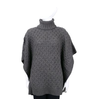 MICHAEL KORS 深灰色麻花針織高領斗篷上衣