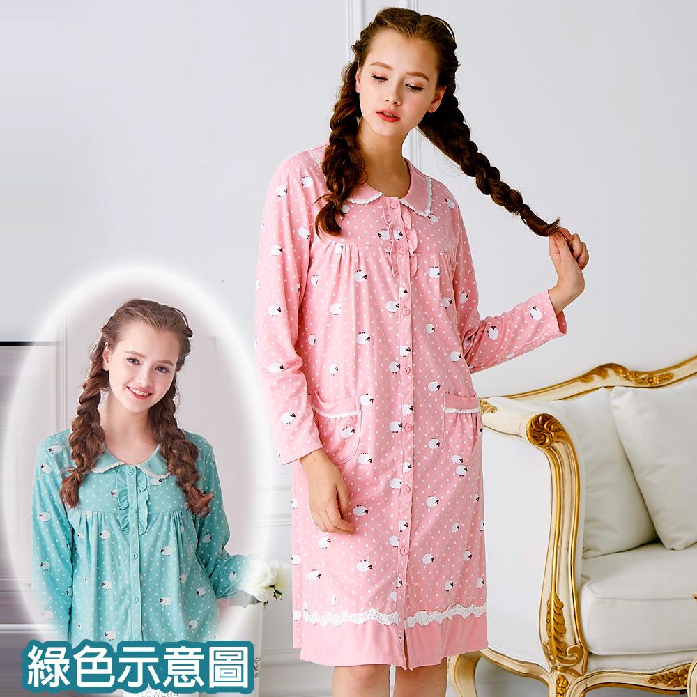 睡衣 精梳棉柔針織 長袖連身睡衣(65207)藍綠色 活力綿羊 蕾妮塔塔